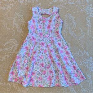 Pink Floral Print Swing Dress Lace Back Cutout 4T